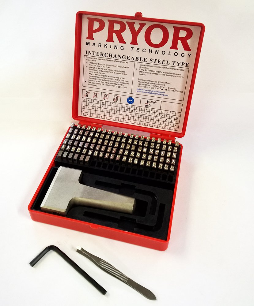 PRYOR TIFH050 Interchangeable Steel Type Fount Set, Complete with Hand Holder, 3/16'' Character Size, 5.0 mm