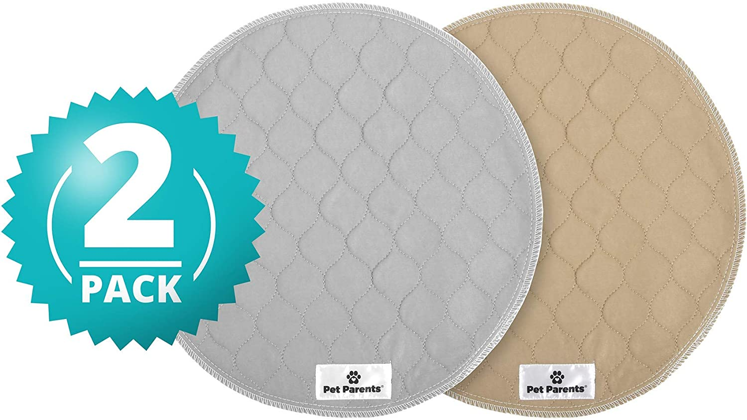 """Pet Parents Washable Round Whelping Pads (2pack) of 17"""" Circle Premium Pee Pads for Dogs, Waterproof Dog Pee Pads, Circle Reusable Dog Training Pads, Pet Pee Pads! Modern Puppy Pads! -1 Tan & 1 Grey : Pet Supplies"""