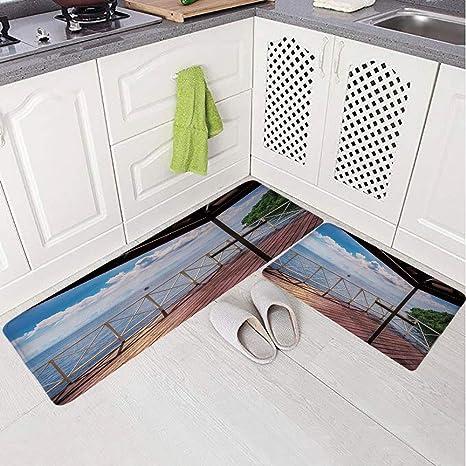 Amazon Com 2 Piece Non Slip Kitchen Mat Rug Set Doormat 3d