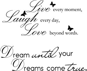2 Sheets Vinyl Wall Quotes Stickers Inspirational Live Every Moment Saying Wall Decal Dream Until Your Dreams Come True Wall Quotes for Office School Classroom Bedroom Wall Decoration