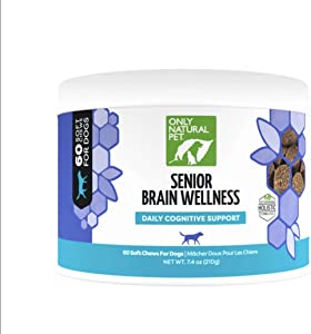 Only Natural Pet Senior Brain Health, Holistic Vitamin with Turmeric, Ashwaganda, Ginkgo, Choline, Probiotics EPA & DHA Essential Fatty Acid - Multivitamin for Older Dogs - Soft Chews - 60 Count