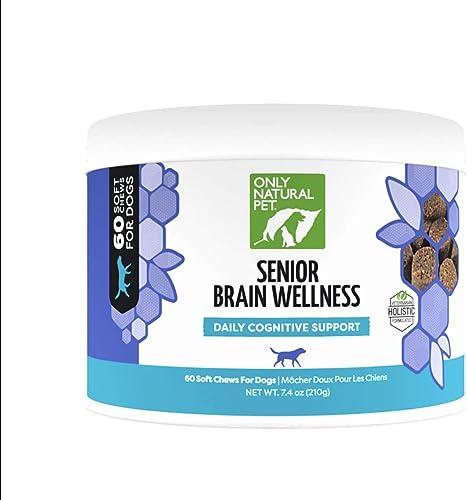 Only Natural Pet Senior Brain Health, Holistic Vitamin with Turmeric, Ashwaganda, Ginkgo, Choline, Probiotics EPA DHA Essential Fatty Acid – Multivitamin for Older Dogs – Soft Chews – 60 Count