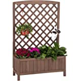 """Raised Garden Bed Planter Box with Trellis for Flower Outdoor Standing Lattice Panels for Gardening or Yard 31"""" L x 12…"""