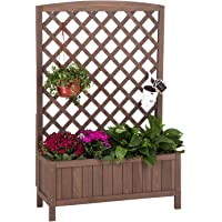 Raised Garden Bed Planter Box with Trellis for Flower Outdoor Standing Lattice Panels for Gardening or Yard 31″ L x 12″ W x 47″ H