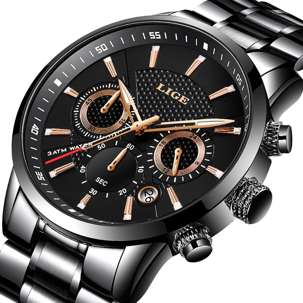 LIGE - Reloj analógico de Cuarzo para Hombre, de Acero Inoxidable, Color Negro