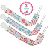 Pacifier Clip Girls by Liname - 3 Pack - Premium Quality Universal Pacifier Clips - Adorable 2-Sided Stylish Design - Soothie Pacifier Holder - Perfect Baby Shower Gift