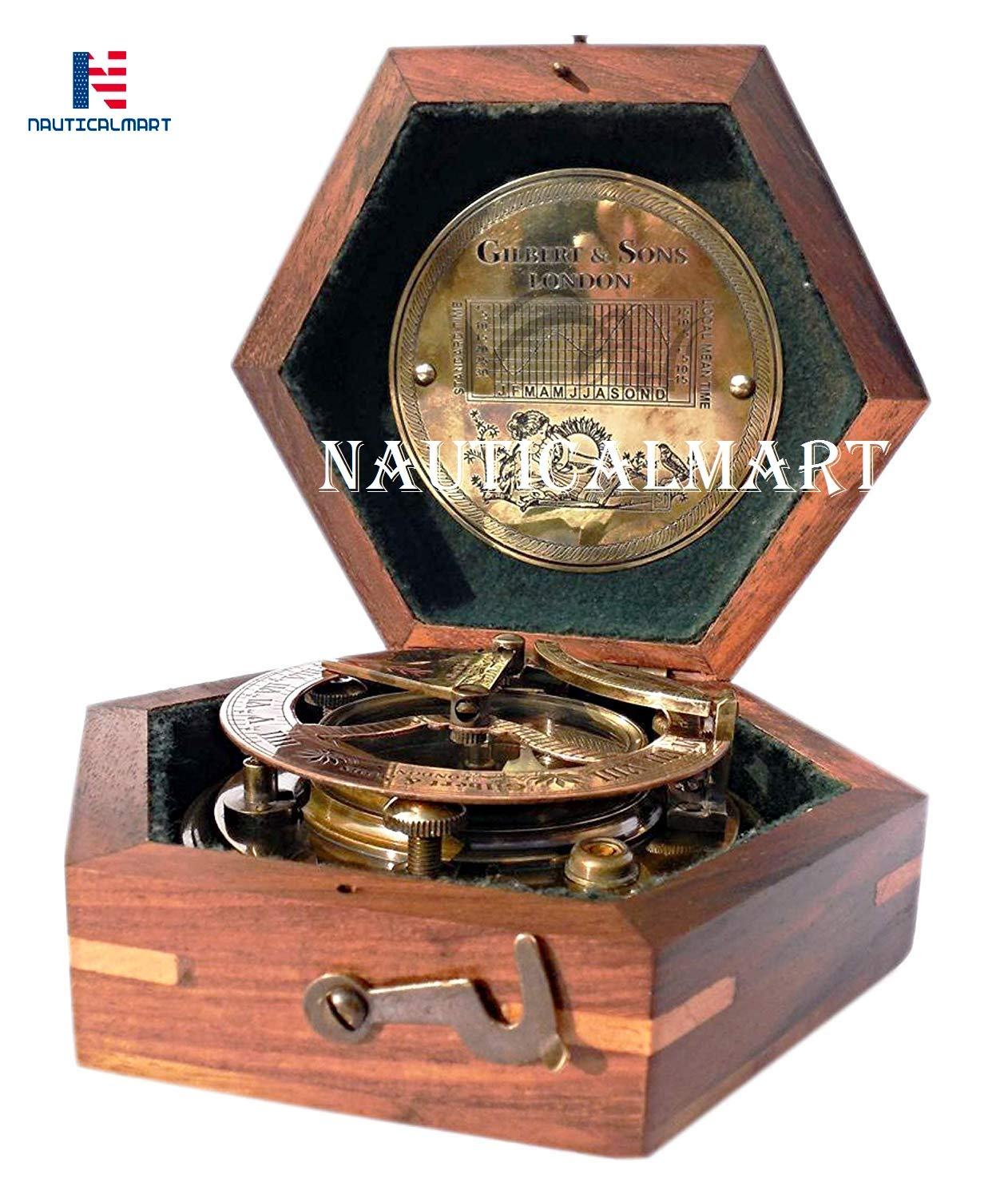 NAUTICALMART Steampunk for Solid Brass Sundial Compass in Fitted Wooden Box