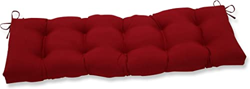 Pillow Perfect Outdoor Indoor Pompeii Tufted Bench Swing Cushion, 60 x 18 , Red