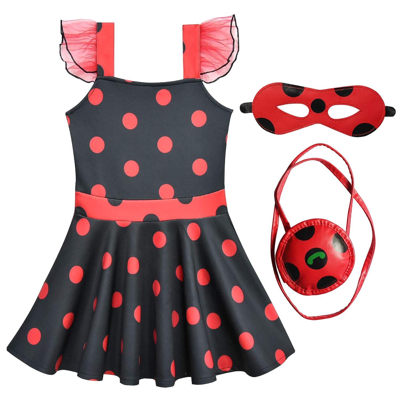 DJSJ- Vestido de Ladybug para Niñas Disfraz de Mariquita Vestido ...
