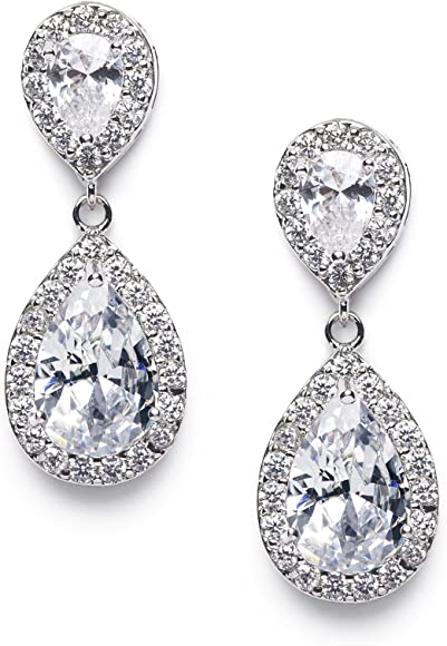 107cd090546ce Cubic Zirconia Teardrop Bridal Earrings, Rhinestone Dangle Earrings for  Wedding Prom Anniversary