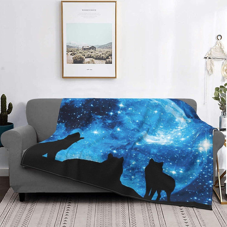 Personalizado Lana Manta,Pack de Lobos contra un Cielo Azul Estrellado con Luna Llena,Sala/Cuarto/Sofá Cama Franela Edredón Manta de Tiro,80