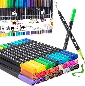 Coloring Markers Pen, Dual Brush Tip Marker for Adult Coloring, 34 Color Calligraphy Brush Fine Tip Pen for Beginner Journal Planner, Drawing, Doodle
