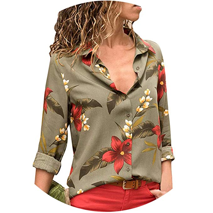 4f6bedda4e30a2 Fashion Long Sleeve Turn Down Collar Office Chiffon Blouse Shirt Casual Tops  Plus Size,Army