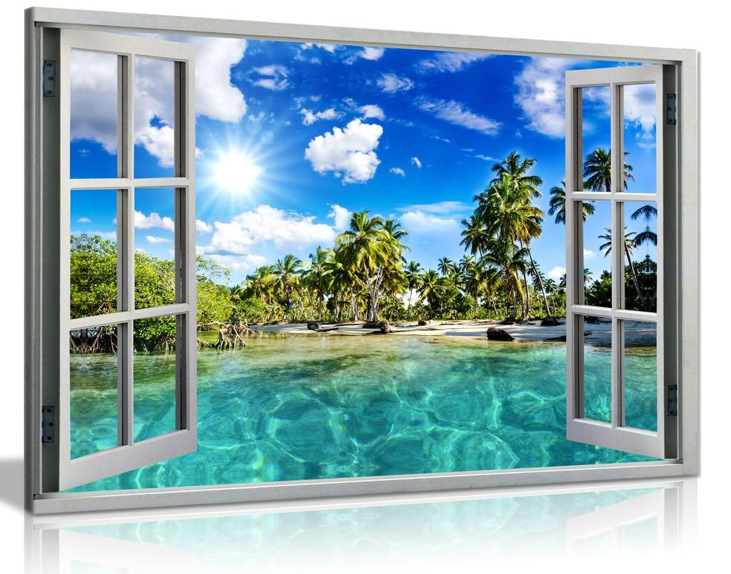 Caribbean Beach Holiday 3D Window Effect Canvas Wall Art Picture Print (36X24) Panther Print
