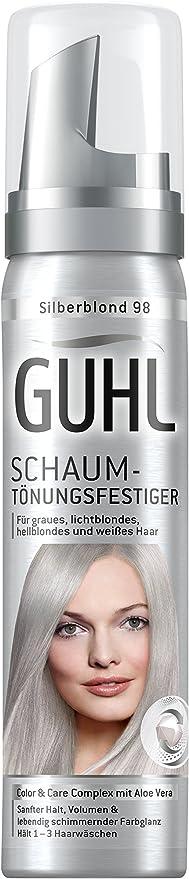 Guhl 98 - Tinte de espuma (3 unidades de 75 ml, aloe vera, proporciona un agarre suave, para cabello gris, rubio luminoso, rubio claro y blanco)