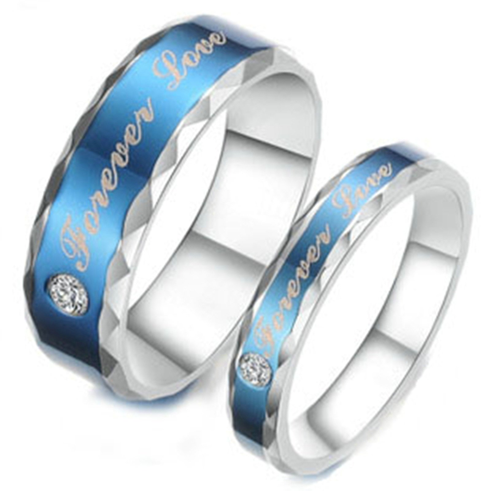 Aooaz 1 Pair Rings Stainless Steel Partner Rings Wedding Bands Blue Silver Forever Love Cubic Zirconia Rings With Free Engraving Womens 5 & Men 7 Novelty Jewelry Gift