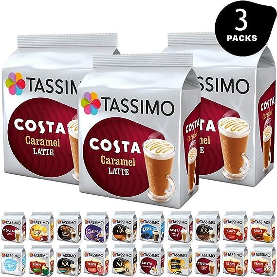 Tassimo Pods Pack Of 3 Costa Caramel Latte Flexible Bundle Coffee Pod Refill Capsules T Discs 24 Servings