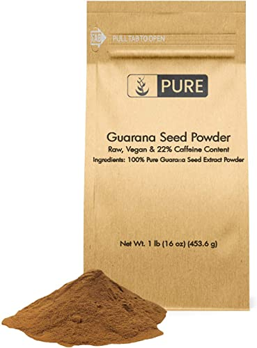 Natural Guarana Seed Powder, 1lb, Standard 22 Caffeine, Energy Boosting, Raw Vegan, Gluten-Free, Superfood, Lab Tested, Endurance Cognitive Function, Eco-Friendly Packaging*