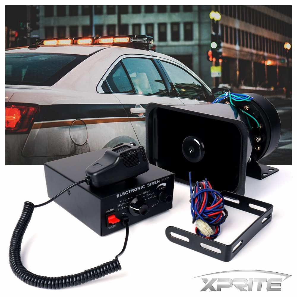 Xprite 100W 12V Police Siren 7 Tone PA System Electronic Emergency Vehicle Warning Siren-Speaker PA System Set w/Handheld Microphone SIREN-100W-G1