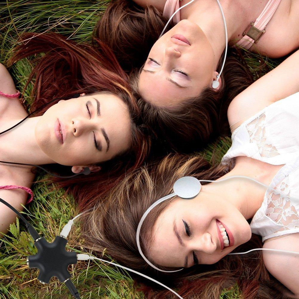 Splitter Audio Jack Ordinateur PC MP3//MP4//CD//iPod Lot DE 2, Noir JTDEAL 1 /à 5 R/épartiteur de Casque St/ér/éo 3.5mm avec C/âble pour /Écouteurs Casque Smartphone Tablette