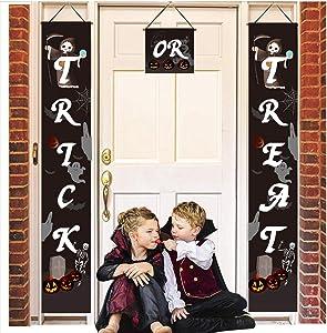 Halloween Decorations, Halloween Outdoor Banners | Trick or Treat Banner Halloween Signs for Front Door Display or Indoor Home Decor | Porch Decorations | Halloween Welcome Signs