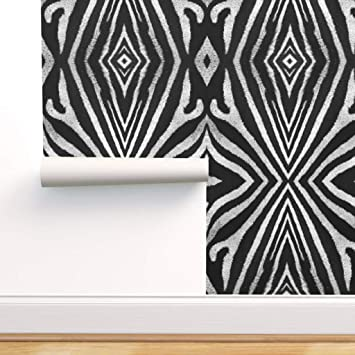 Spoonflower Peel And Stick Removable Wallpaper Zebra Pattern Black White Safari Modern Animal Largescale Print Self Adhesive Wallpaper 24in X 108in Roll Amazon Com
