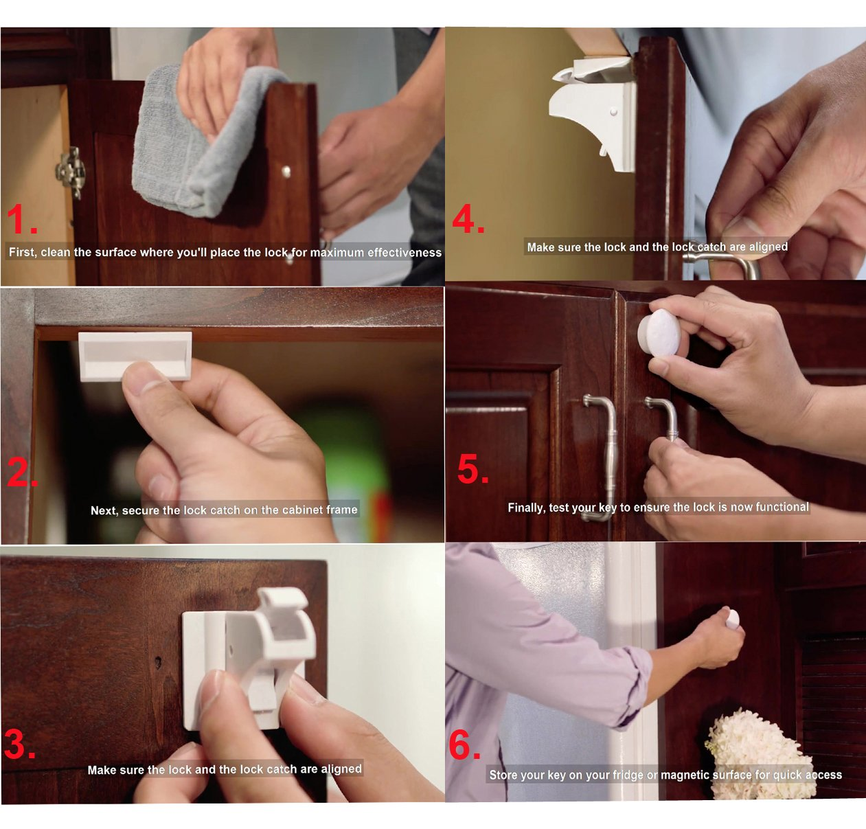 Magnetic Cabinet Locks-Child Safety Locks-Baby Proofing Cabinets System - (4 Locks + 1 Key)-Cabinet Locks-Child Locks-Safety Locks-Child Proof-Baby Proofing-Child Proofing-Magnetic Lock