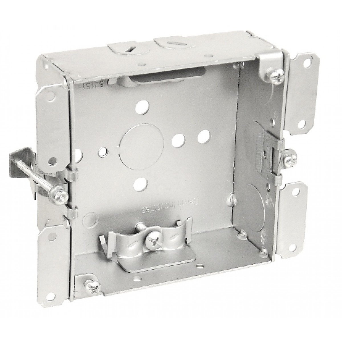 2 Pcs, 4'' Square Old Work Cut-In Box, 1-1/2 In. Deep, w/Clamps for Nm Cable, .0625 Galvanized Steel to Add Devices, Speakers, Strobes, Alarms, & Devices to Hollow Walls