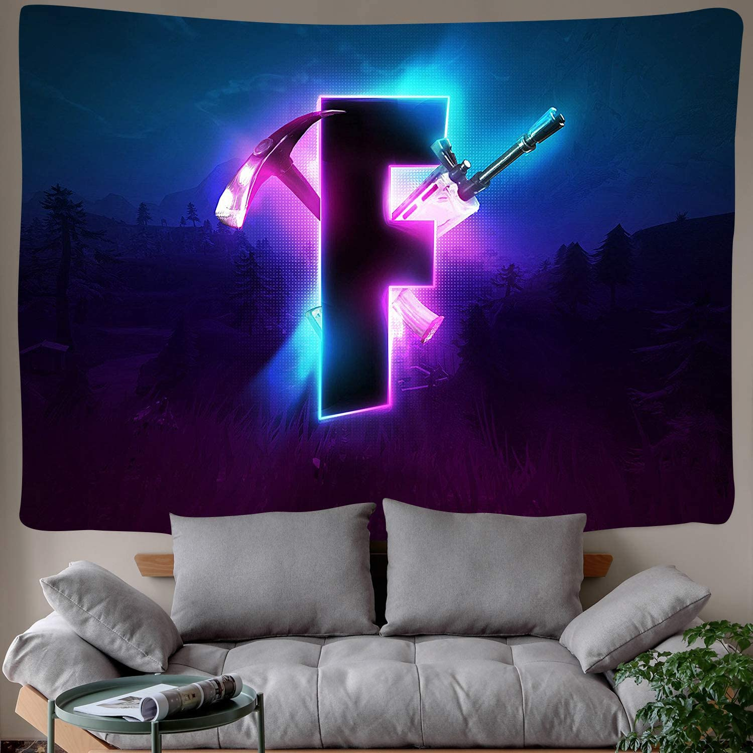 DBLLF Game Tapestry Competitive Game Logo Tapestry Video Battle Game Wall Hanging for Bedroom Living Room Dorm Handicrafts Curtain Home Decor 80×60 Inches DBZY0601