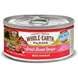 Whole Earth Farms Small Breed Grain Free Wet Dog Food, Beef Dinner (24) 3 oz Cans