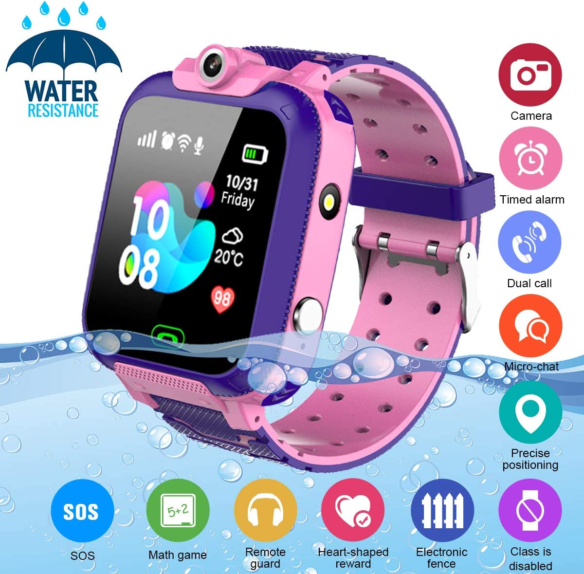 Kids Smart Watch,Childrens Smartwatch for Kids Girls,Waterproof LBS Tracker Watch HD Touch Screen Sport Smartwatch Phone Watch with SOS Call Camera Game Alarm for Children Teen Students,Pink