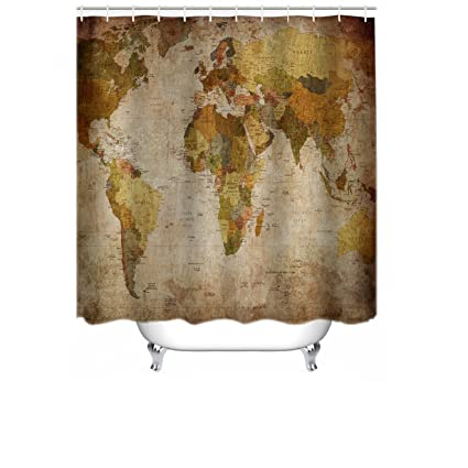 Amazon Com Cheerhunting World Map Shower Curtain Anthique World