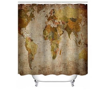 Amazon Com Cheerhunting World Map Shower Curtain Anthique World