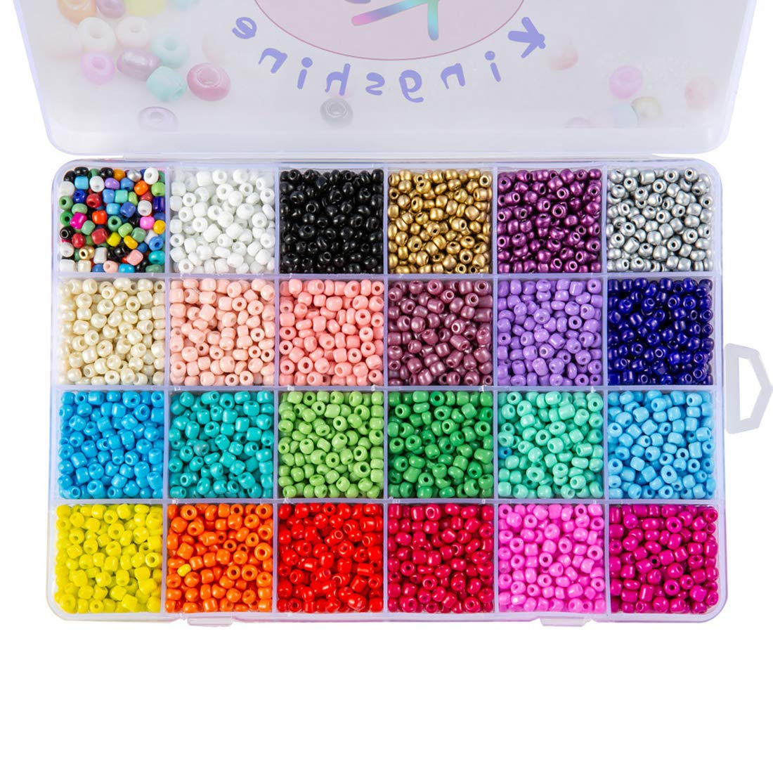 Multicolor Beading Glass Seed Beads - Tube Beads 24 Colors 4mm Pony Bead Round Spacer Mini Beads, Approx 7200pcs with Container Box for Jewelry Making by KINGSHINE