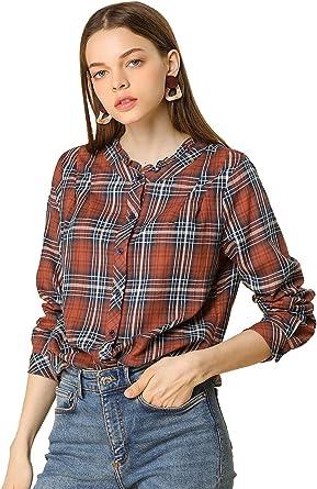 Allegra K Camisa A Cuadros Cuello con Volantes Manga Larga Blusa De Otoño para Mujer