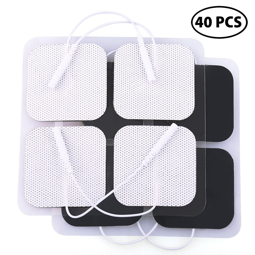 LotFancy 40PCS TENS Unit Electrode Pads Replacement for TENS EMS Massage, 2 Inch Square White Cloth Backing with Premium Adhesive Gel by LotFancy