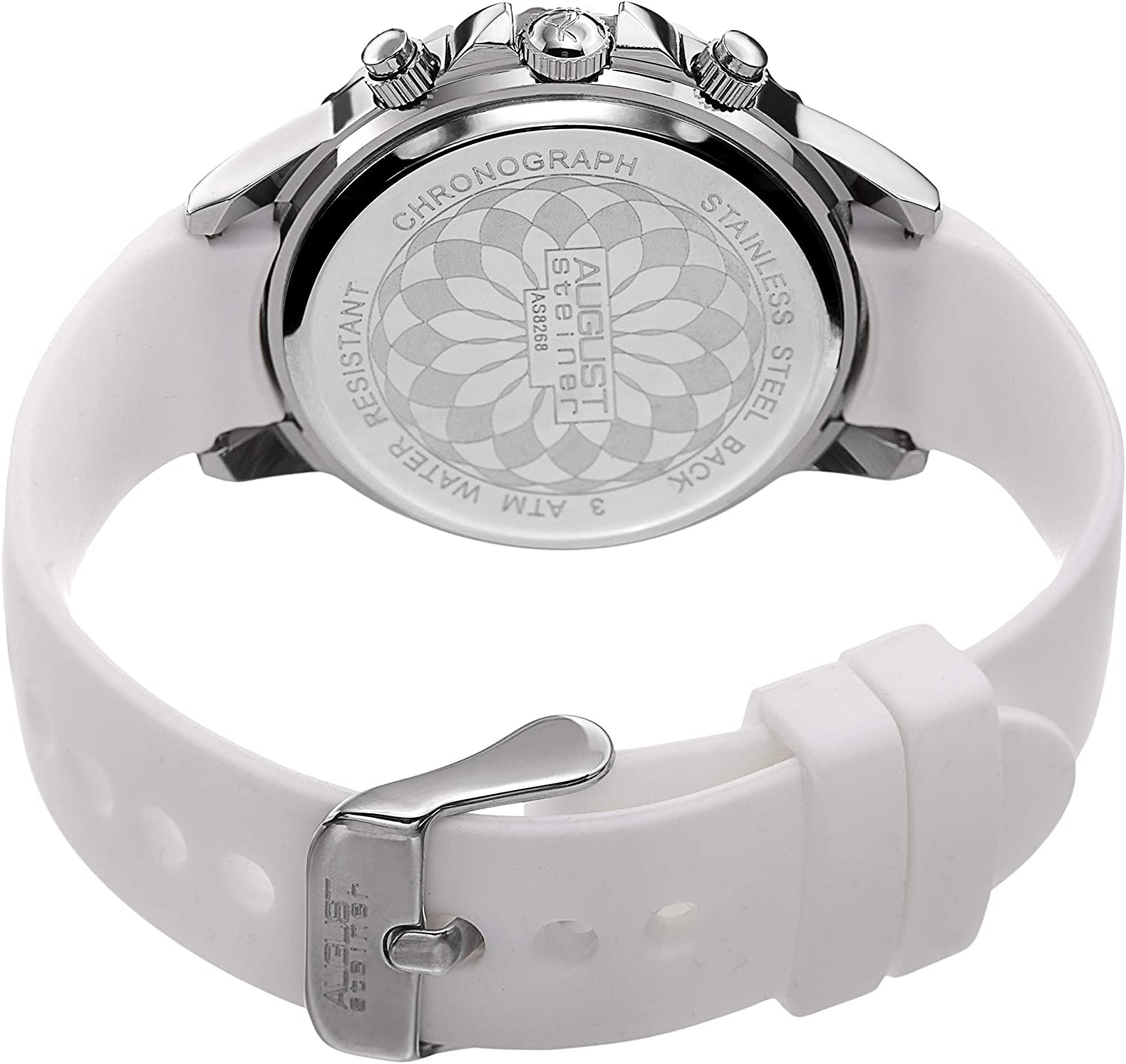 August Steiner AS8268 Women's Leather Watch – Crystal Studded Coin Edge Bezel, Diamond Marker, Mother of Pearl Dial, Multifunction Day, Date, 24 Hour White & Silver