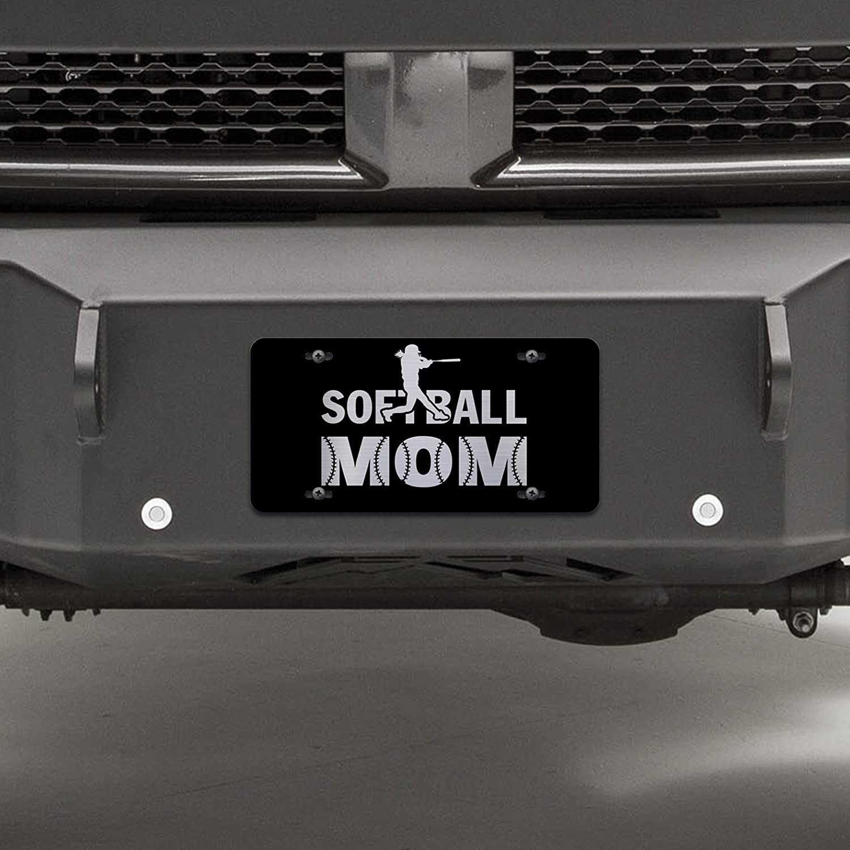 Premium Quality 12-Inch By 6-Inch Vincit Veritas Softball Mom Black Etched License Plate LP032