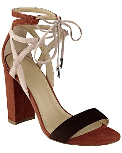 1508bfd8f2af Image Unavailable. Image not available for. Color  Marc Fisher Fatima Lace-Up  Block-Heel Sandals