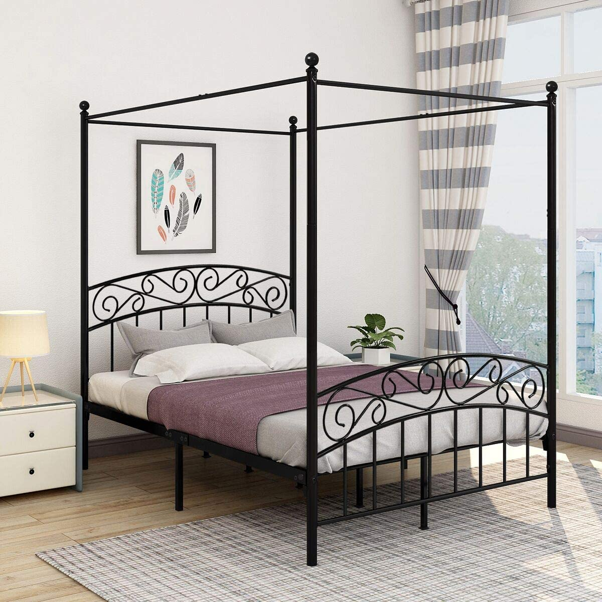 - Amazon.com: JURMERRY Full Size Metal Canopy Bed Frame With Ornate