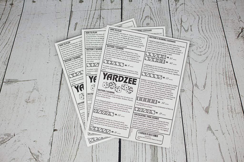 3 Yardzee Score Cards. Laminated Score Cards With Rules on the Back, Outdoor Yard Games, Outdoor Events. Reusable Score Cards. Size- 8.5'' x 11'' by That Wood Work