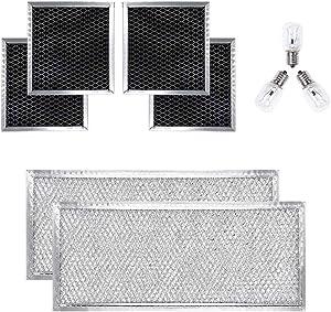 AMI PARTS W10208631A (2 PCS) Grease Filter Aluminum Mesh & 8206232A(3 PCS) Light Bulb& 8206230A (4 PCS) Charcoal Filter Replacements