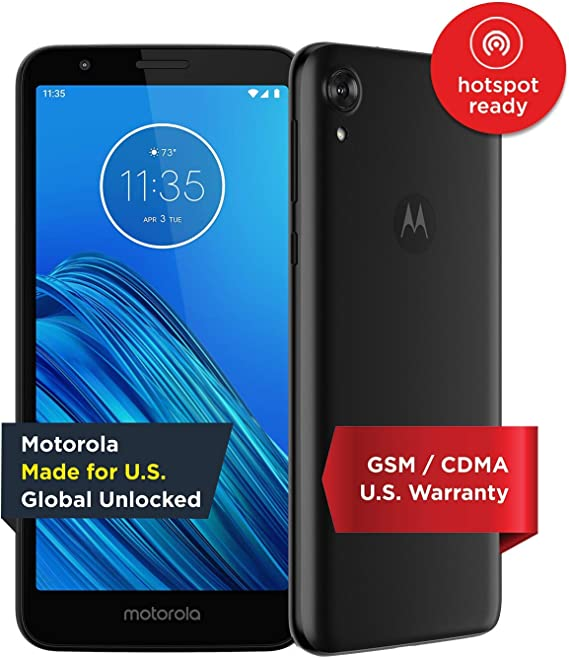 Moto E6 (2019) - Unlocked Smartphone - Global Version - 16GB - Starry Black (US Warranty) - Verizon