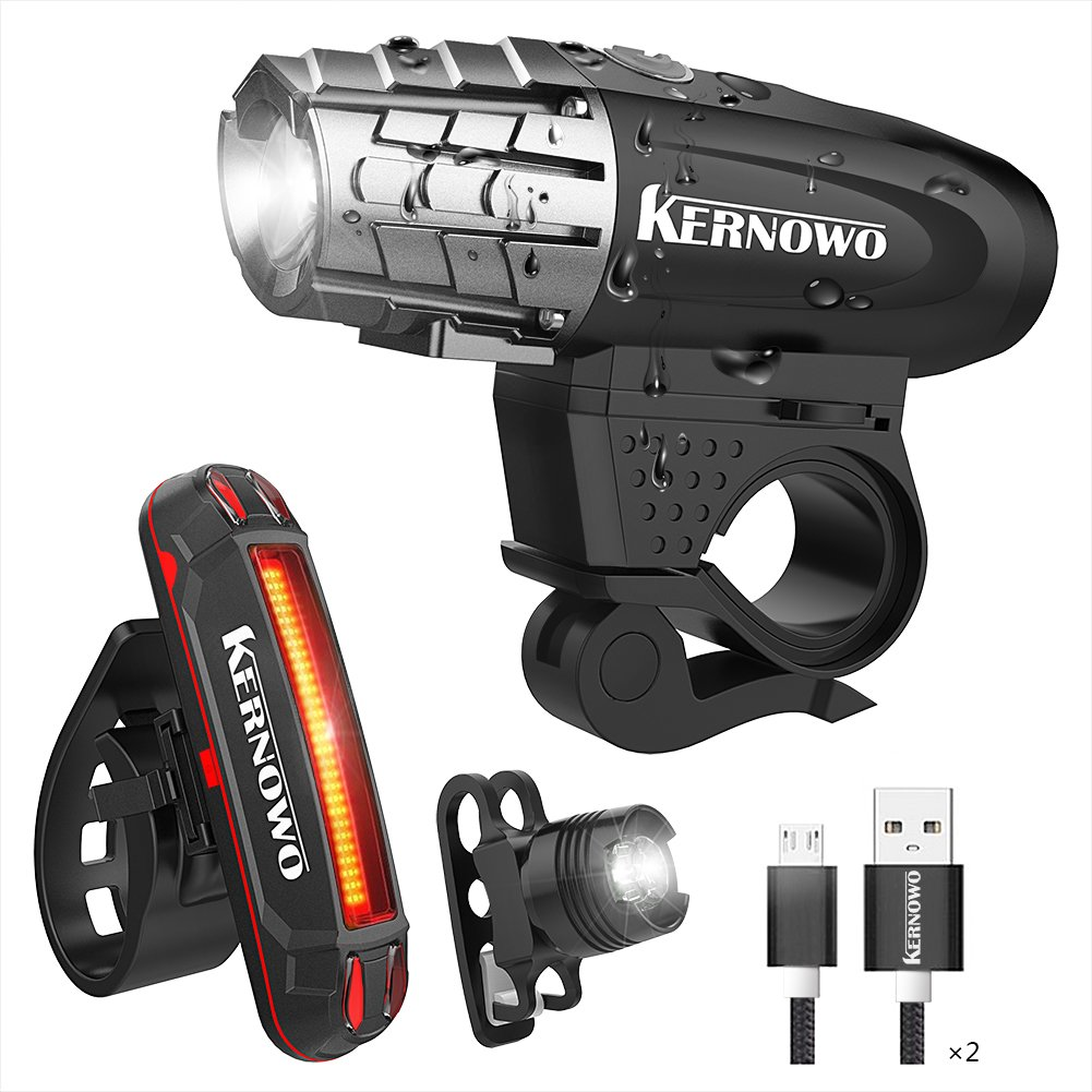 KERNOWO Bike Light, USB Rechargeable Bike Light Set- Premium Bicycle Front Light & LED Bicycle Tail Light Set - Waterproof Bicycle Light Accessories Set for Road & Mountain Cycling