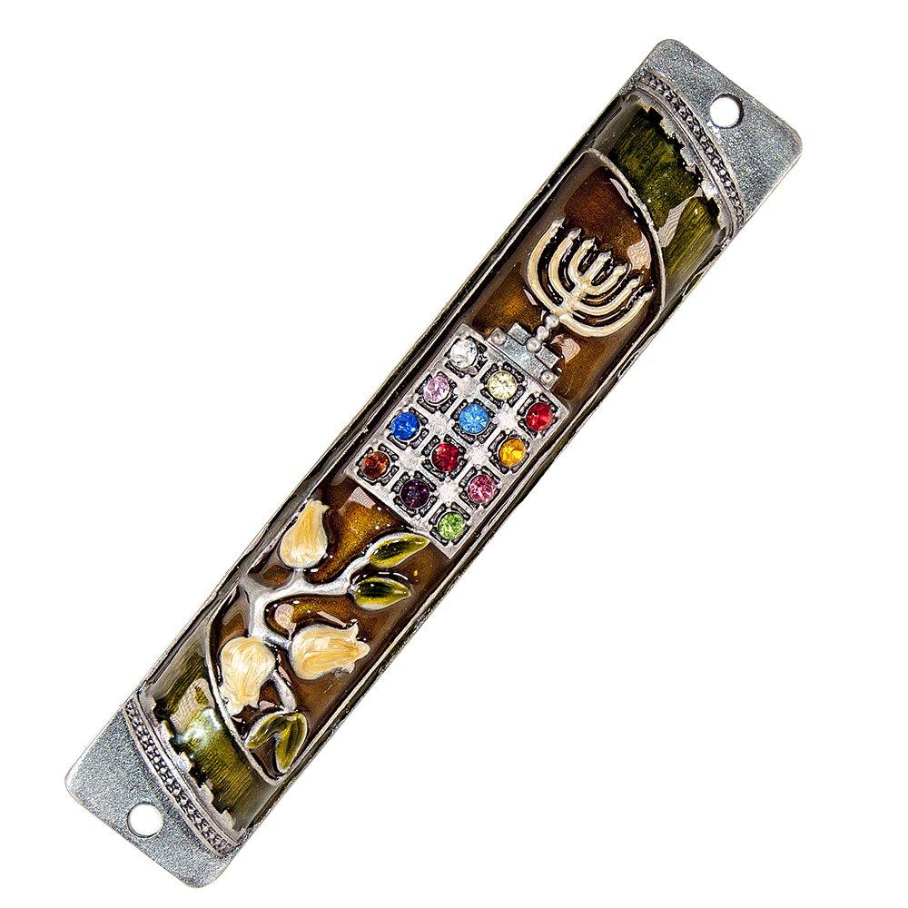 Priestly Breastplate Israel Tribes HOSHEN Enamel Door Mezuzah - 4 different colors Judaica Jewish Menorah lot (Beige / Gold) Jerusalem Silver Shop JSS-11