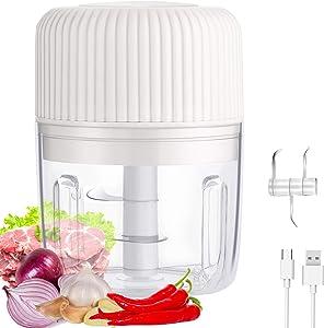 JIMEJV Electric Mini Garlic Chopper, 250ml Wireless Waterproof Kitchen Food Processor, Small Food Mincer Grinder for Onion Pepper Chili Vegetable Nuts Fruits Meat