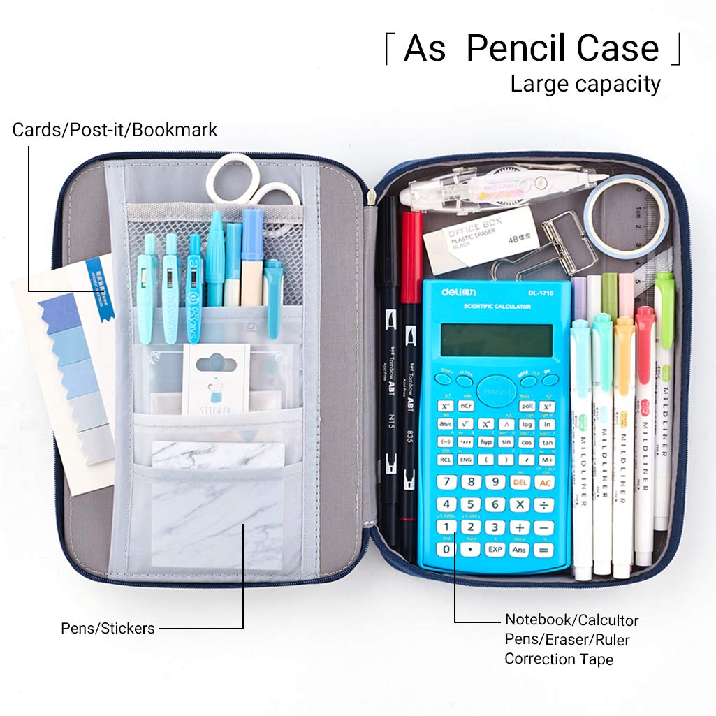 EASTHILL Big Capacity Pencil Pen Case Pouch Box Organizer Large Storage for Bullet Journal Grey Blue