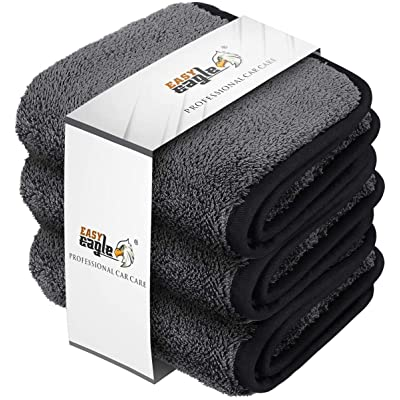 EASY EAGLE Microfiber Car Wash Towels, Car Drying Towel 30x30CM, 1200GSM Ultra-Thick Microfibre Cleaning Cloths, Pack of 3: Automotive