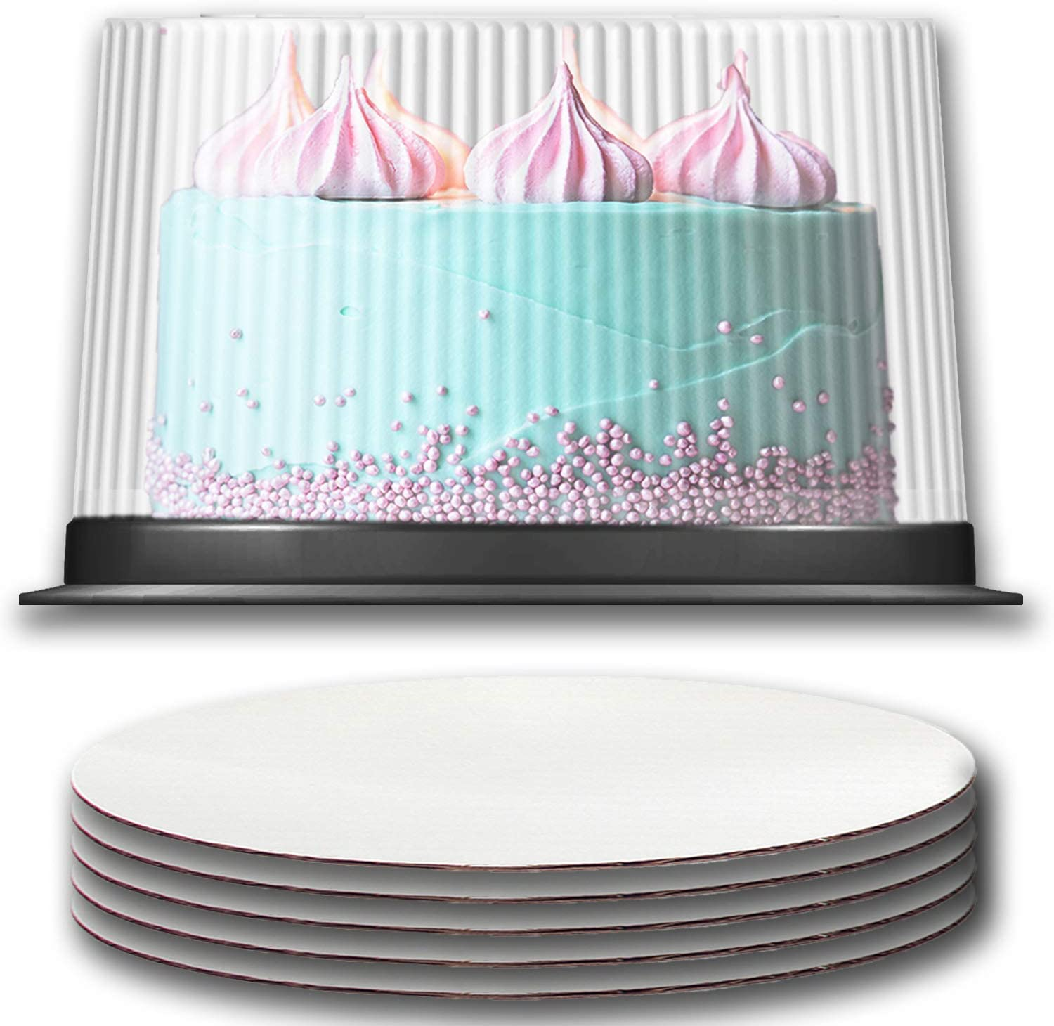 Plastic Cake Container with Clear Dome Lid 10-11 Inch and Cake Boards 10 inch, Cake Holder with Lid is for 2-3 Layer Cakes, Cake Board is Round, Cake Supplies, 5 Pack of Each.