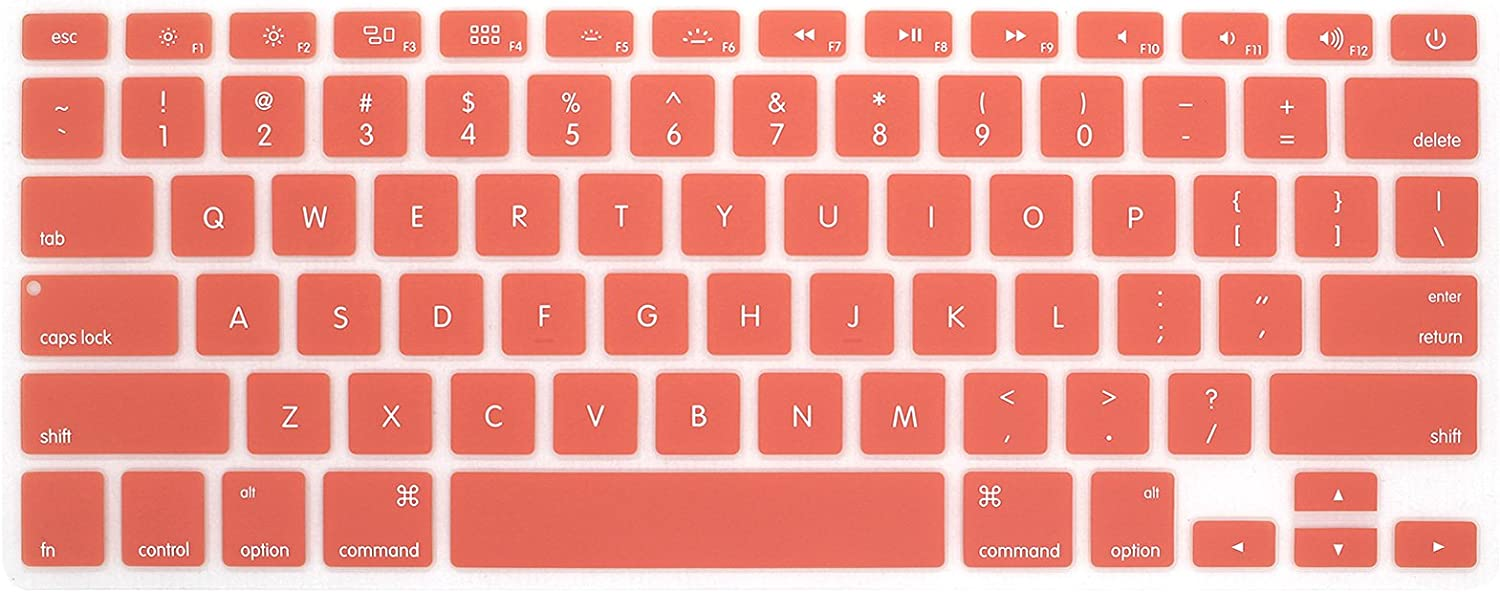 HRH Silicone Keyboard Cover Skin for MacBook Air 13,for MacBook Pro 13/15/17 (with or w/Out Retina Display, 2015 or Older Version)&for iMac Older USA Layout,Grapefruit Red